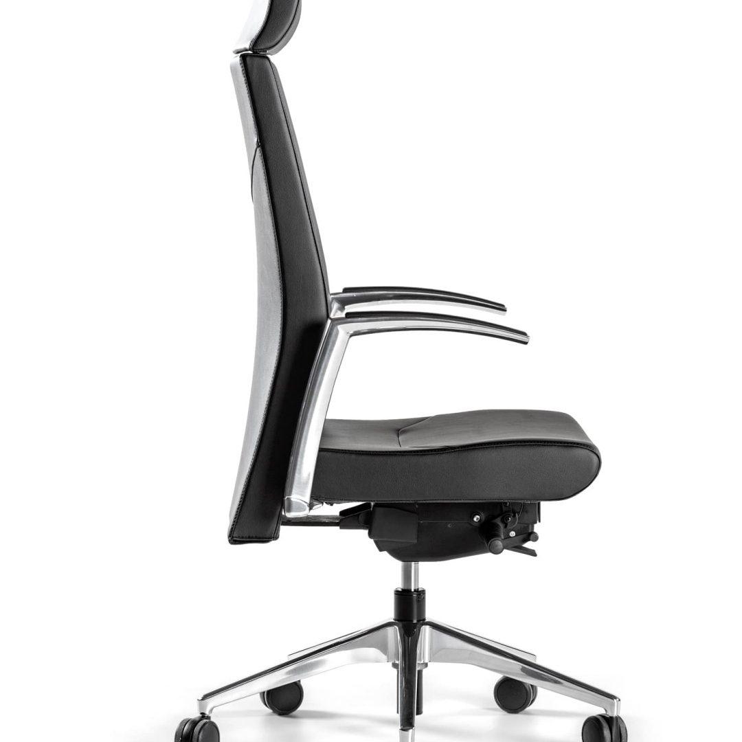 sillón respaldo alto base y brazos aluminio