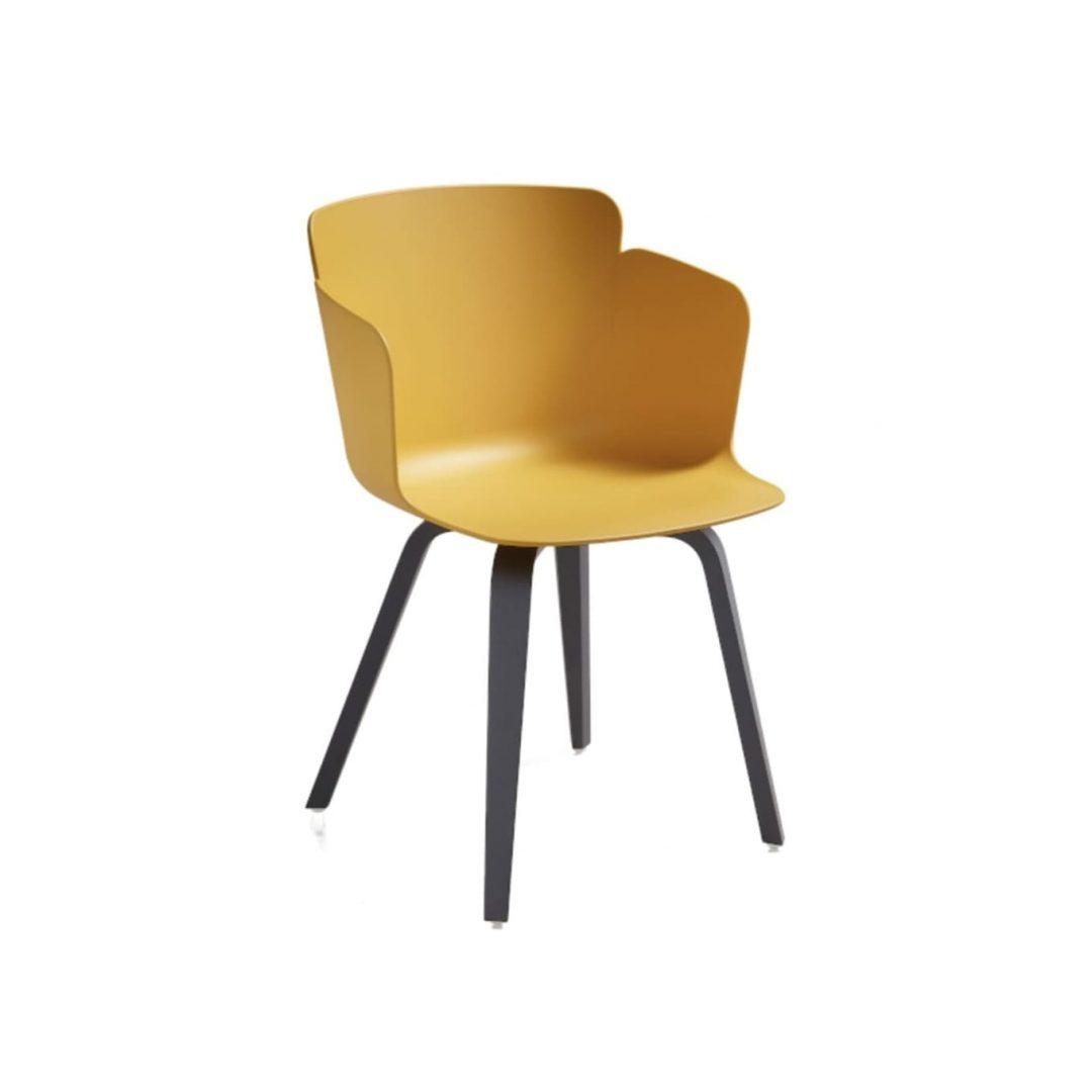 silla carcasa amarilla patas de madera