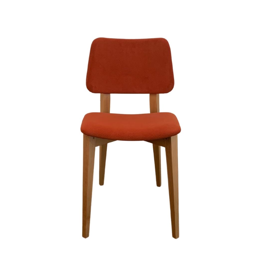 silla joe de midj en madera maciza de fresno natural y color teja
